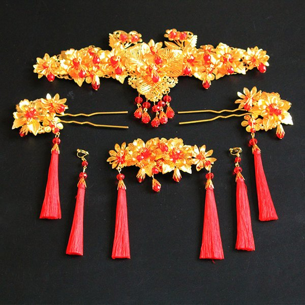 A set Chinese traditional women fashion gold hair crown vintage jewelry bride wedding hairpin band flower festival gift