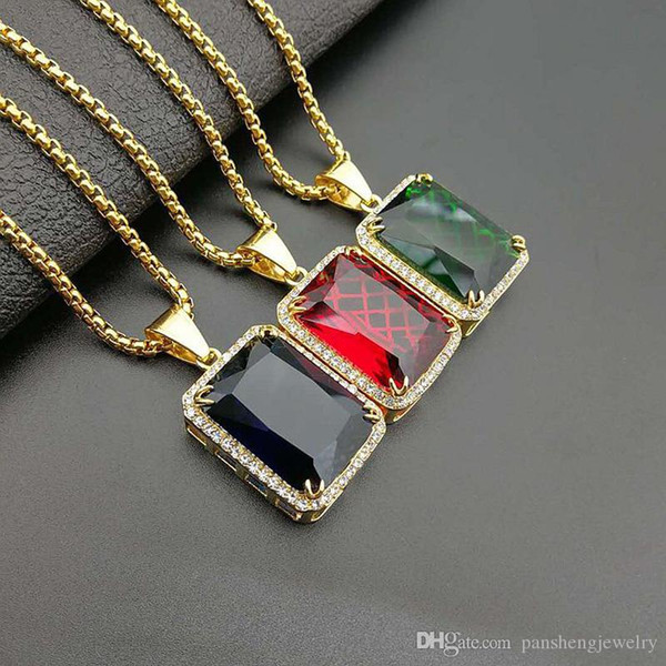 Stainless Steel Square Red Blue Green Rhinestone pendants Men Women Hip Hop Necklace Jewelry Gift SN197