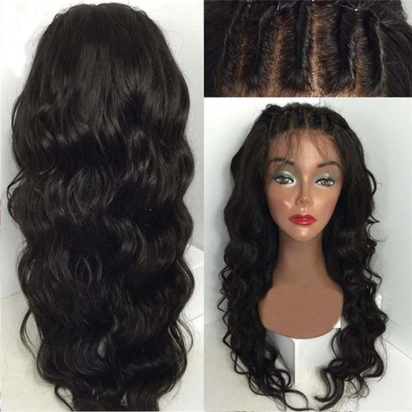 Glueless Full Lace Wigs Natural Hair Color Loose Wave Human Hair Wig Brazilian Hair Can Make Ponytail Free Part