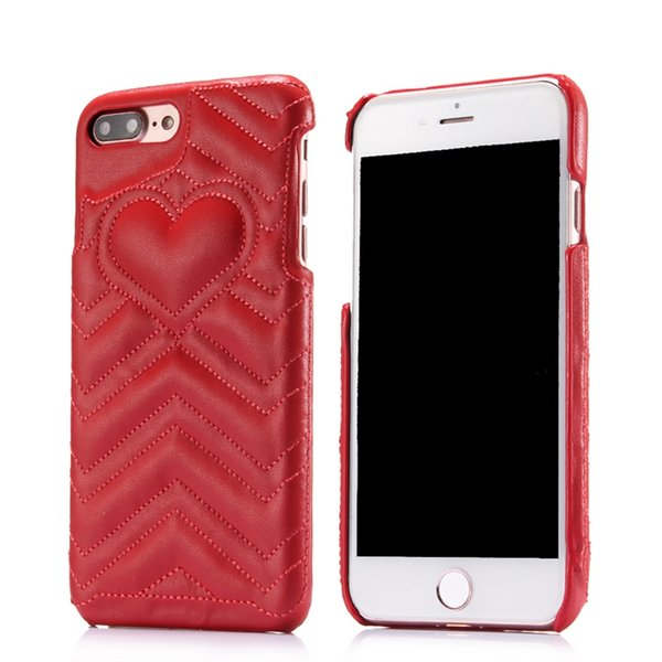 For Iphone XS MAX XR 8 7 6 6S Plus Luxury Heart Love PU Leather + Hard PC Case Plastic Lover Fashion Veneer Gluing Cell Phone Cover Skin