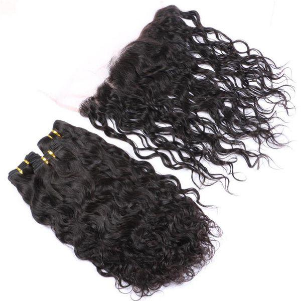 La armadura brasileña virgen y ondulada de la armadura del pelo humano de la Virgen 3Pcs con la onda frontal del agua 13x4 Cierre frontal del cordón lleno con los tejidos 4Pcs Lot