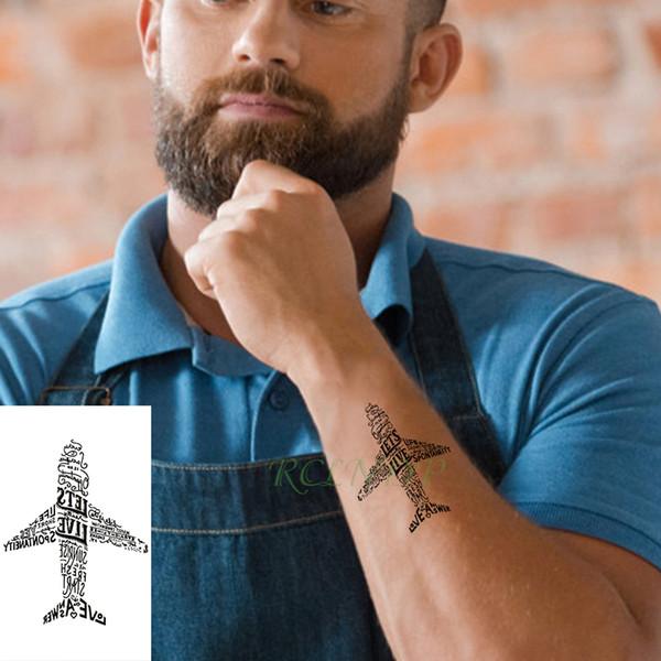 Imperméable à l'eau temporaire tatouage autocollant lettre avion forme d'avion petit tatouage flash tatoo faux tatouages pour enfants hommes femmes