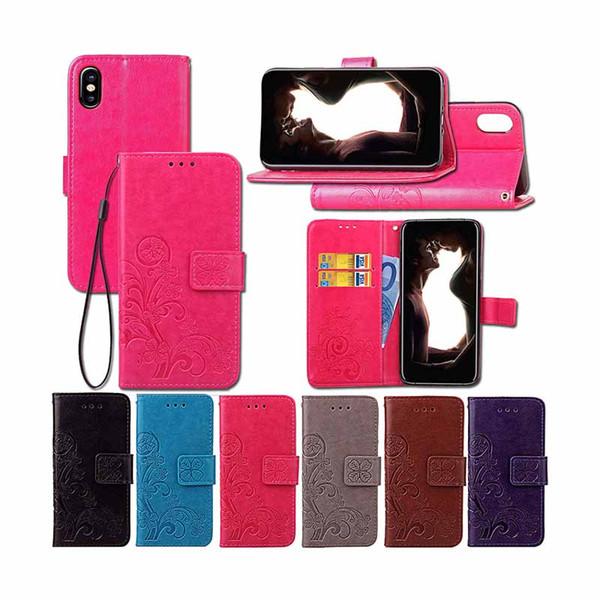Magnetischer Schlag-Mappen-Kasten für iphone XR X Blume prägeartige stoßsichere Luxusfolio-PU-Leder-Standplatz-Abdeckung für iPhone XS maximales 7 Plus