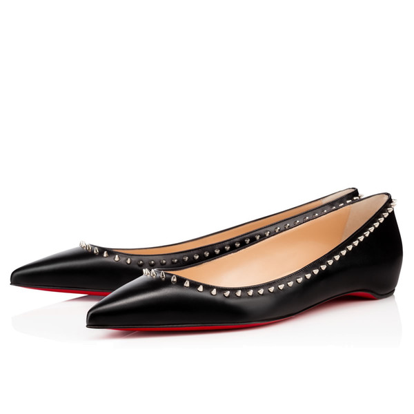 New Spring / summer Donna Rosso Bottom Peep Toe Wedge in pelle verniciata Scarpe singole, Comfort Ladies Party Dress Casual Flat Shoe EU34-42