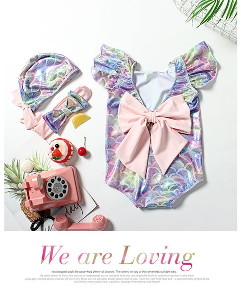 2019 new children's ins hot gold cute children's swimsuit female hot spring one-piece swimsuit girls baby baby princess mermaid swimsuit