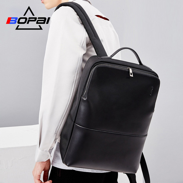 2018 Bopai Cool Mens Backpacks Man Rucksack 14 Inch Laptop Bag Student Schoolbags Men Travel Leather Backpack Bags Black Bagpack Y19061102