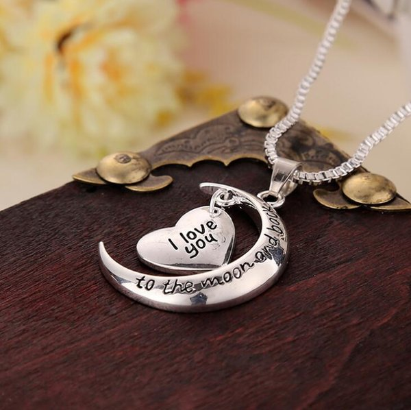 Father's Day Gift Statement Polish Shinny Silver Necklace I Love You To The Moon and Back Pendent Necklace Mothers Day Gift K3445