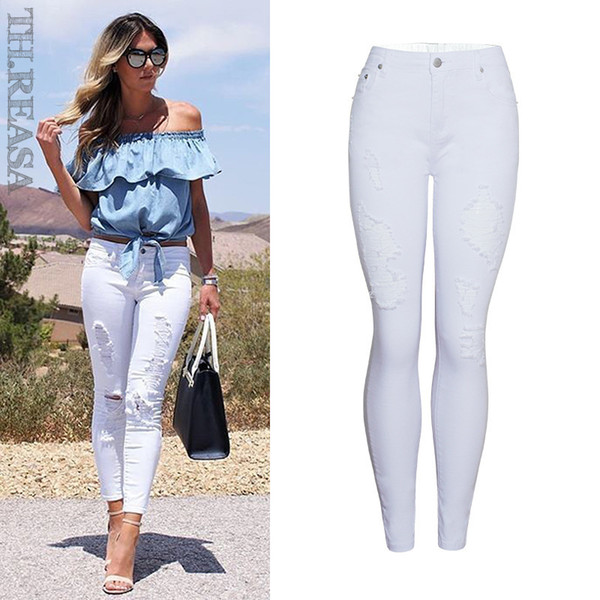 Summer Style White Hole Ripped Jeans Women Jeggings Cool Denim High Waist Pants Capris Female Skinny Casual Jeans J190425