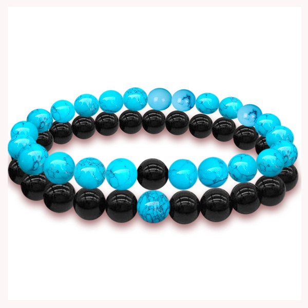 2 PCS Bracelets Braslet Budha Natural Lava Rolling Stone Copper Beads Cufflinks Wrist Band For Couples Men Women Fashion Gifts