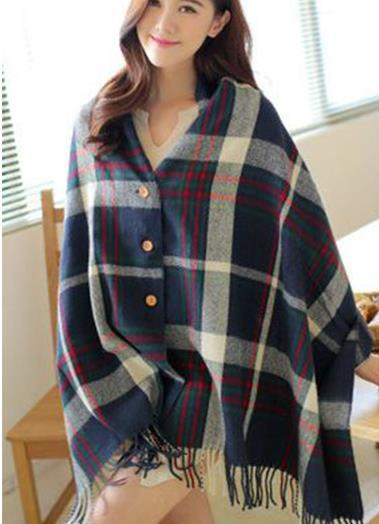 New imitation cashmere button ladies cloak shawl autumn and winter dual-use thick tassel plaid scarf