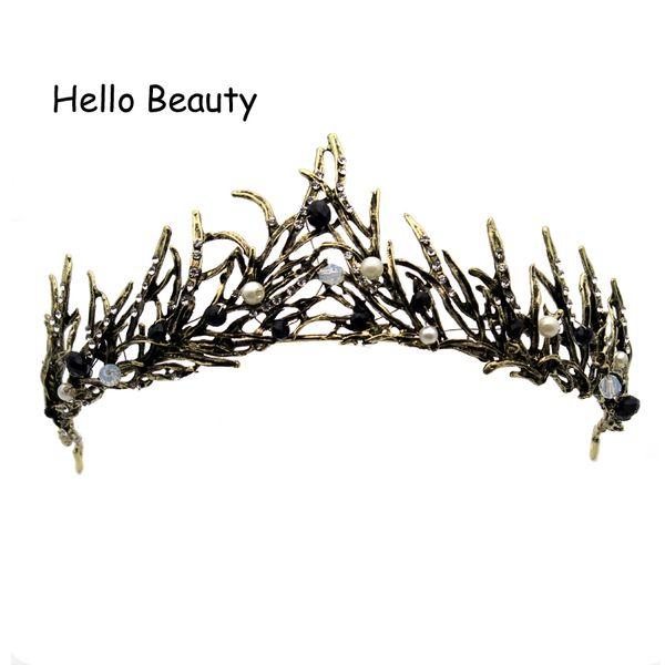 rystal crown White Black Pearl Beads Baroque Vintage Prom Gold Tiara Wedding Leaf Branch Pageant Crystal Crown Bridal Bride Hair Accessor...