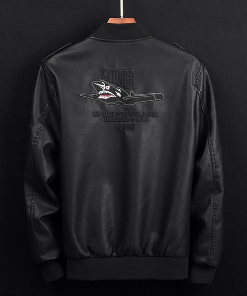 2019 Sonbahar Kış Erkek Deri Patchwork Ceketler Moda Kalın Streetwear Hip Hop Highstreet Stil Erkek Deri Ceket Plus Size M-6XL
