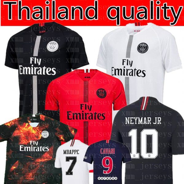 Paris Saint Germain MBAPPE  7 soccer jersey 2019 Thai Quality Cavani NEYMAR  10 Soccer Shirts Verratti Di Maria T SILVA football uniforms 66df375ec