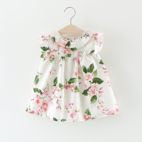 Baby Girl Clothes Dress Floral Flowers For Kids Children Ruffle Frock Sleeveless Summer Infant 6 12 18 24 Months Toddler Casual Y19061101