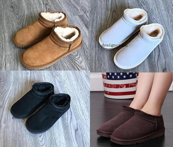 botas de nieve de diseñador U damas clásicas australianas 100% cuero de felpa G botas unisex zapatos de interior al por mayor zapatos de invierno de mujer talla grande 34-4