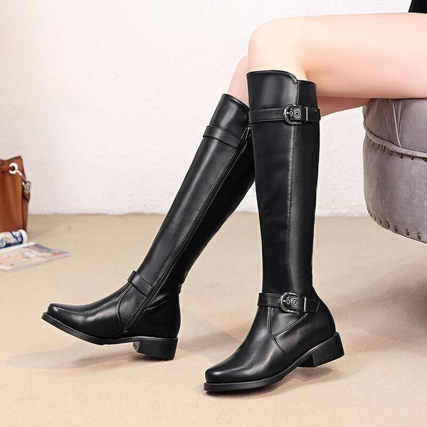 Compre Botas Negras Mujer Invierno Botas Hasta La Rodilla Planas Para Mujer Moda Hebilla De Cuero De Imitación Cálido Felpa Mujer Zapatos Largos 2019