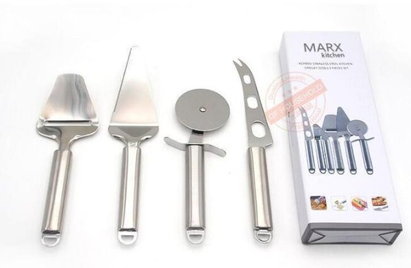 Kitchen Gadget Tools Pizza Knife Cheese Knife Set 4 Piece Stainless Steel Pizza Cutter Pie Server Cheese Knife Cheese Slicer