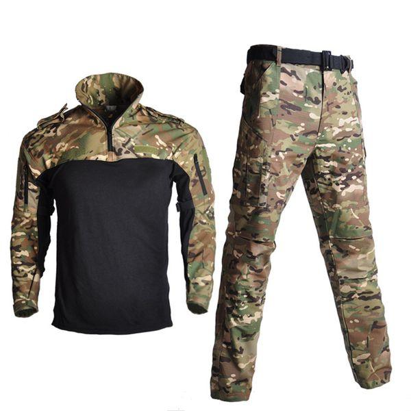 Tactical Training Uniform Shirt + Pants Hiking Shooting Combat Hunting Clothes Kryptek Multicam Black Camouflage Tactical Suits