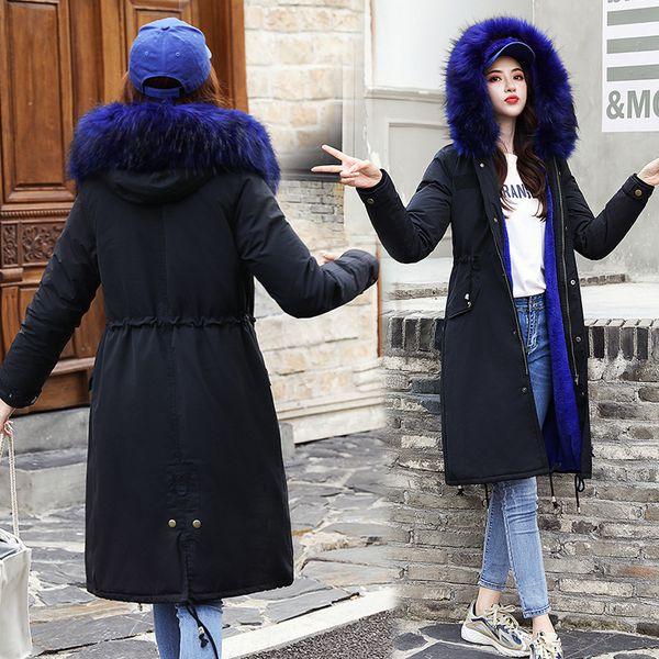 abrigo de invierno mujer chaqueta de piel larga cuello de piel azul parkas largas engrosamiento abrigo cálido damas ropa de talla grande ropa de nieve 2019