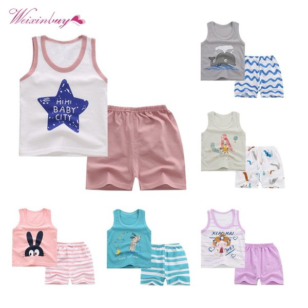 2Piece Toddler Kids Baby Boy Hoodie Vest Tanks Top Outfits Suit,Sleeveless T-Shirt Soft Shorts Suit Summer Clothes Set
