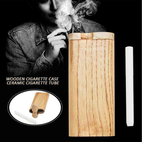 Naturel Fait Main En Bois En Bois Avec Digger Un Hitter Pipe Tuyaux En Verre Cigarette Filtres Tuyaux Fumeurs Tuyaux En Bois Dugout Tuyau