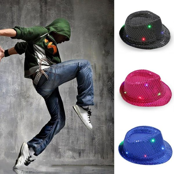 Led Luminoso Acender Chapéu Colorido Flash Adulto Crianças Cap Palco Performance Dance Party Paillette Jazz Fedora