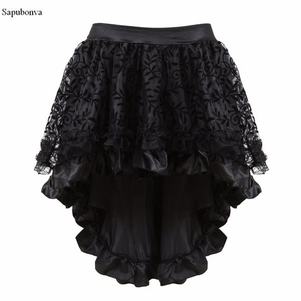Sapubonva Multilayer Lace Victorian Burlesque Costumes Gothic Steampunk Clothing Ruffled Chiffon Skirt For Women Matching Corset Y19043002