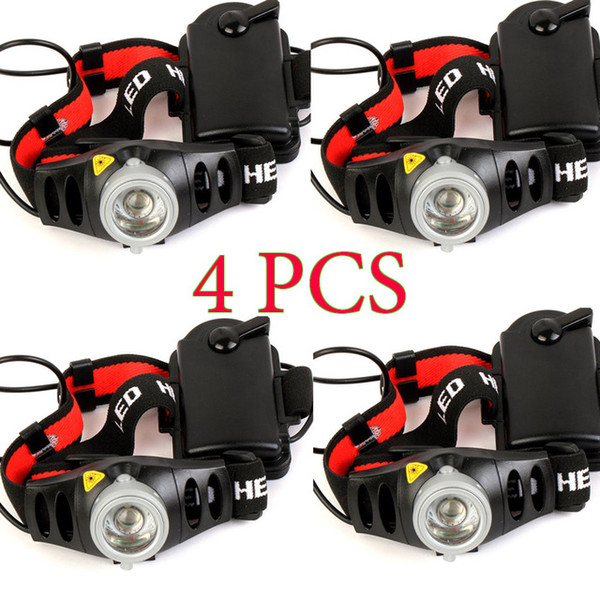 4PCS 2000 Lumens CREE Q5 LED Headlamp Headlight for Bicycle Hunting Camping Outdoor Lighting Zoom In/ Out Adjustable Focus Torch Light car