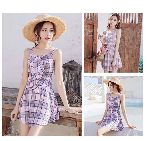 New Swimsuit Women Conjoined Sexy Backless Skirt Hot Spring Small Chest Gather Student Swimwear With Chest Pad ZH0044