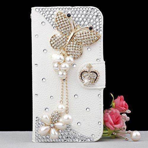 wholesale Bling Handmade Glitter Rhinestone Pearl Leather Flip Wallet Protective Case for Iphone for SamsungS3 S4 S5 S6 S7 S8 N5