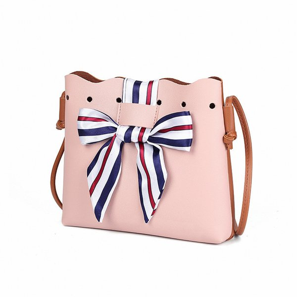 Cheap Women Cute Bucket Bags Ladies Small Cross Body Bow Bags Pu Leather Bow Shoulder Bags for Women Scarf Drawstring Handbags QL