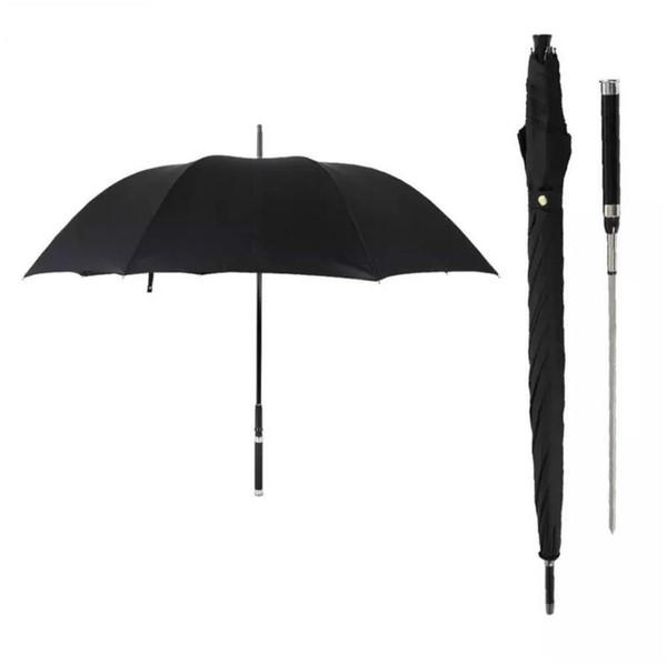 Mango largo Automatic Man Umbrella Marca de moda a prueba de viento de negocios Guerrero con espada Sunny creativo Lluvia Paraguas Negro