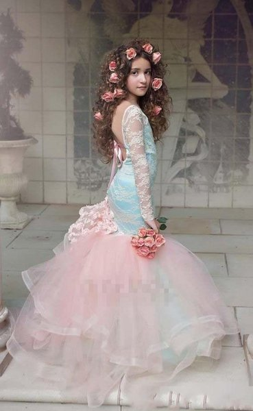 Gorgeous Blue And Pink Girls Pageant Gowns 2019 Lace Long Sleeves Backless Mermaid Flower Girl Dresses For Wedding Children Party Dresses 13