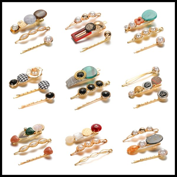 1Set Women Girls Elegant Pearl Hair Clip Retro Classic Hairpins Barrettes Acetate Crystal Hair Accessories Hairwear Jewelry