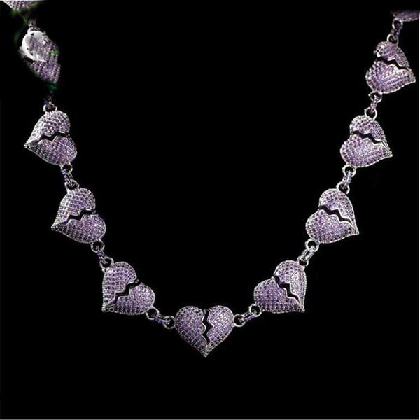 GLACÉ Chaînes Créatrice de bijoux de luxe Hommes diamant Collier chaîne Hip Hop Chaînes Bling Hommes Bijoux Charms Coeur brisé Purple Fashion Amour