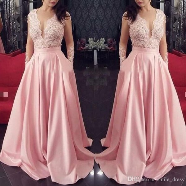 Sexy Pink Lace Long Sleeve Prom Dresses A Line Illusion Appliques Satin Floor Length Arabic Prom Dresses Evening Wear SP382
