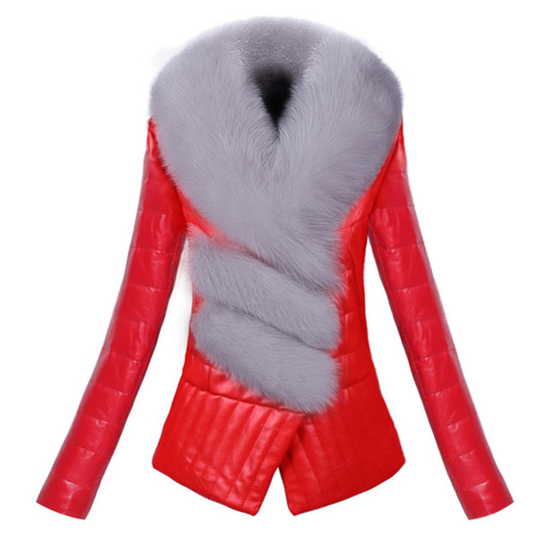 Fashion winter Warm thick PU leather jacket slim long-sleeve short Outerwear Faux fox fur collar female leather jacket clothing
