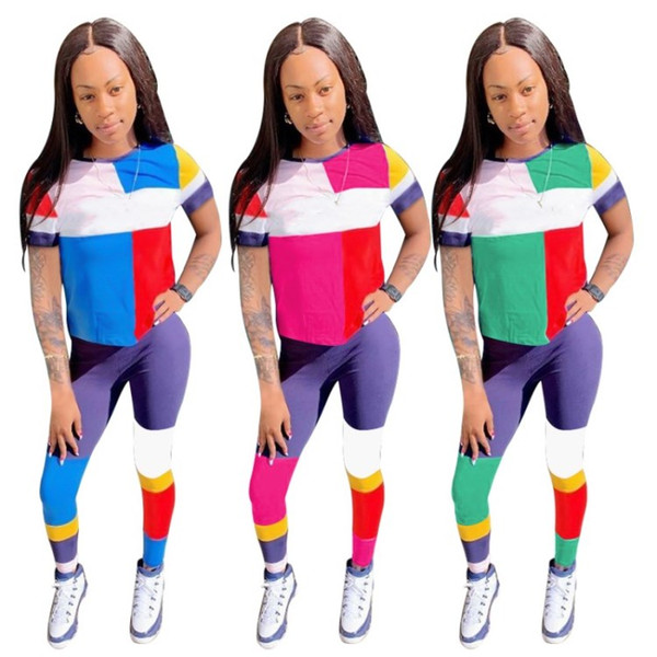 Womens suits Letter Printed Sexy Casual 2 Piece Set Plus Size Tops Skinny Pants Sweatsuits Two Piece Tracksuit Street S-XL klw0677