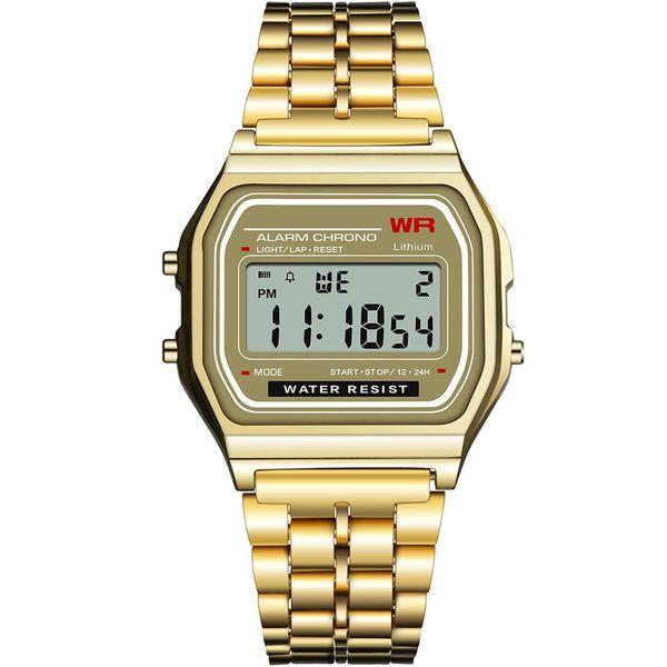 Luminosa LED relógio de pulso multifuncional relógio esportivo despertador 30m liga diária impermeável / pulseira de borracha para Dropshipping