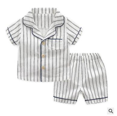 Kids Pajamas 2pcs Outfits 2019 Summer Short Sleeve Cotton Striped Boys Pyjamas Home Wear Nightwear Children Toddler Boys Striped Sleepwear