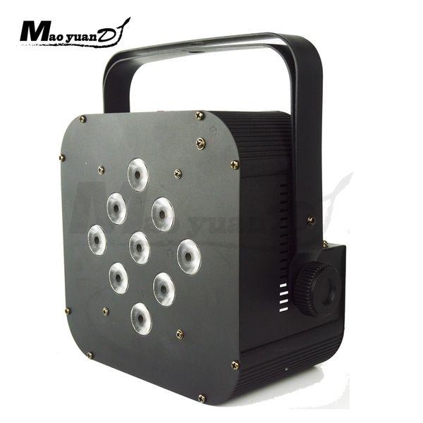 LED de navidad con pilas, control remoto inalámbrico, dmx512, led de luz 9x18w 6in1 RGBAW UV DMX LED DJ par de parentescos de batería de boda