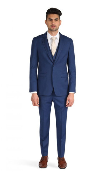Three Piece Blue Evening Party Men Suits Notch Lapel Trim Fit Custom Made Wedding Tuxedos (Jacket + Pants + Vest+Tie)W:425