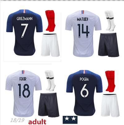 18 19 MBAPPE Football Uniforms 2018 2019 TOLISSO GRIEZMANN Soccer Sets POGBA Football Kits GIROUD DEMBELE Soccer Shirt Shorts Socks