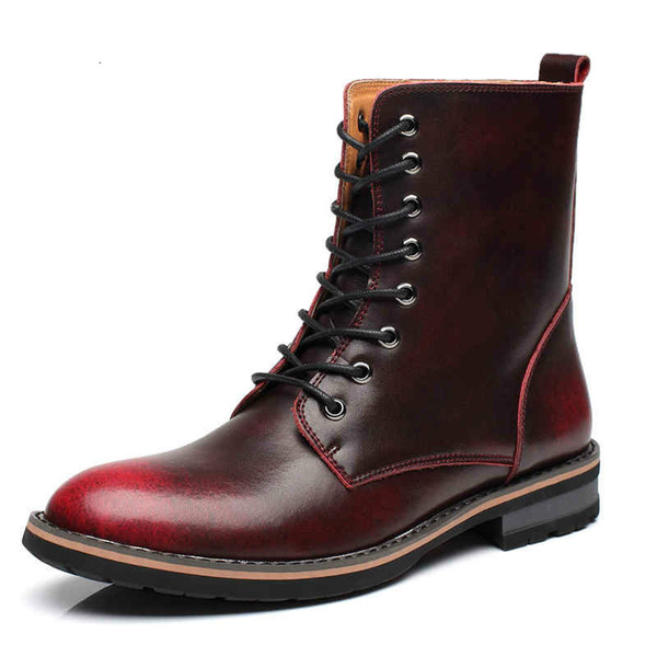 Leather Boots Fashion Winter/Autumn Motorcycle Martin Boots Men Casual Ankle Boots Warm Couple Snow Big Size