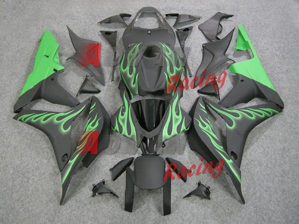 Nouveau kit de carénage complet ABS pour moto ABS pour Fit pour HONDA CBR600RR F5 2007 2008 07 07 600RR CBR600 + couvercle de réservoir nice green flame