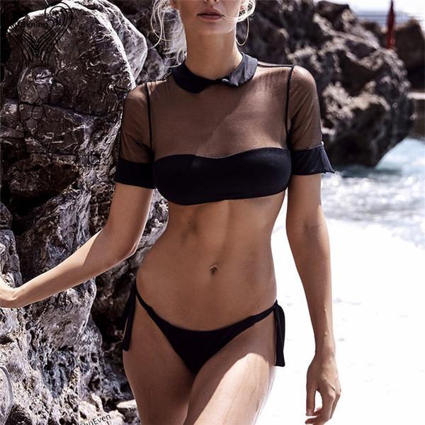 Mesh Cropped Short Sleeve Bikini Padded Swimsuit Sexy Swimwear Women 2019 Swimming Suit Female Beach Brazilian Bathing Suits