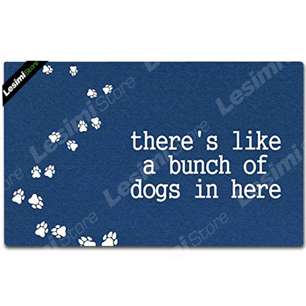 Funny Printing Floormat There's, Like a Bunch of Dogs in Here Door Mat Home Office Entrance Floor Mat Washable Unique Doormat