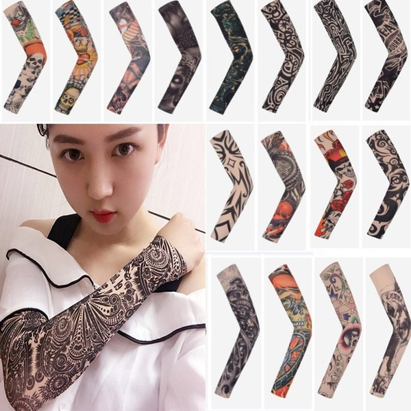 Arts Fake Fake Temporary Tattoo Arm Sunscreen Sleeves Body Arm Sleeve Unisex Protective Sleeve Design Tiger Crown Heart Skull DHL AN2102