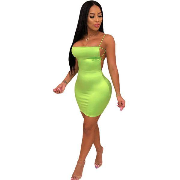 Compre Vestido Sin Mangas De Verano Sexy Sin Mangas Para Mujer Vestido Ajustado Sin Espalda Con Vendaje Verde Neón Elegante Mini Fiesta De Noche