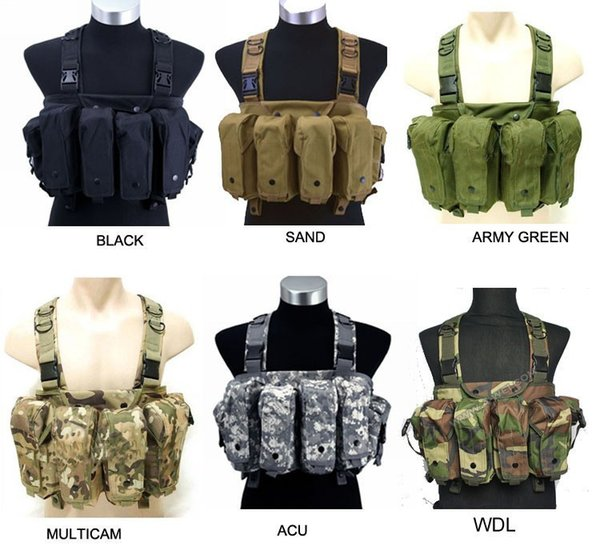 Trijicon Tactique Chasse Poitrine Rig Grande Capacité Mag Carrier 7 Poche Combat Airsoft Paintball Gilet ht130